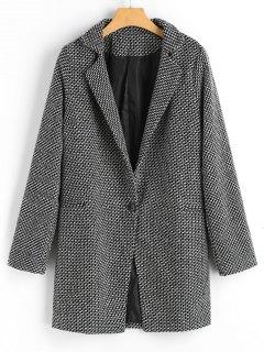 One Buttoned Zig Zag Wool Blend Coat - Black White S