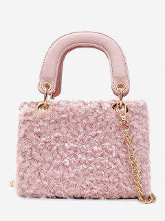 Chain Faux Fur Handbag With Strap - Pink