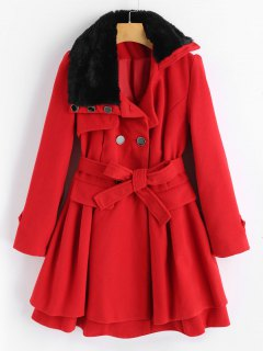 Wool Blend Double-breasted Skirted Coat - Red M