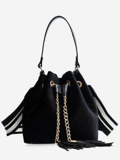 Tassel String Chain Handbag - Black