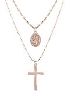 Alloy Engraved Goddess Oval Crucifix Necklace Set - Golden