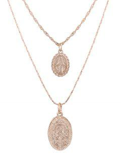Alloy Engraved Goddess Oval Pendant Necklace Set - Golden