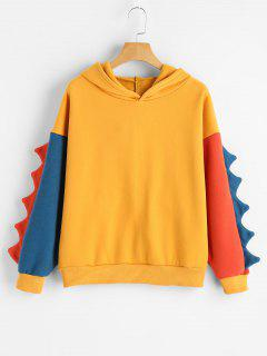 Scalloped Color Block Cute Hoodie - Ginger