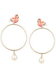 Faux Pearl Circle Teardrop Flamingo Earrings - Red