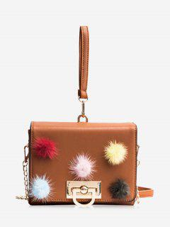 Pompoms Multi Colors Handbag - Brown