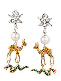 Aretes De Imitación De Perlas Hexagonales De Diamantes De Imitación - Pattern B