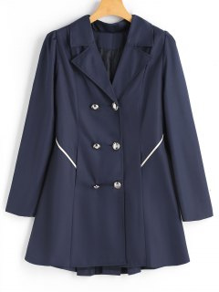 Buttoned Tabs Double-breasted Skirted Coat - Purplish Blue S