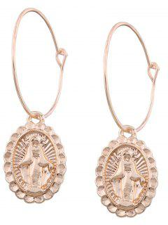 Oval Engraved Goddess Hoop Drop Earrings - Golden