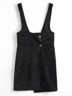 Corduroy Mini Suspender Dress - Black M