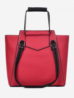 Top Handle Stitching PU Bolso De Cuero - Rojo