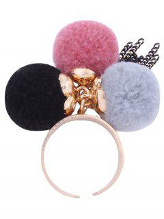 Charm Fuzzy Ball Fringed Cuff Ring - Pink