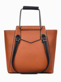 Top Handle Stitching PU Leather Handbag - Brown