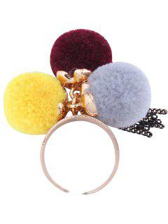 Charm Fuzzy Ball Fringed Cuff Ring - Yellow