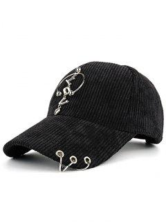 Metallic Letters Circle Ring Embellished Corduroy Baseball Hat - Black