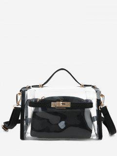 Transparent 2 Pieces Crossbody Bag Set - Black