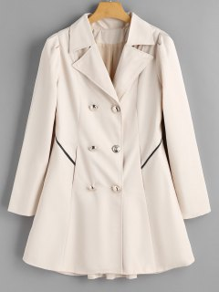 Buttoned Tabs Double-breasted Skirted Coat - Off-white M