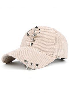 Metallic Letters Circle Ring Embellished Corduroy Baseball Hat - Beige