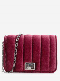 Chain Striped Hasp Crossbody Bag - Red
