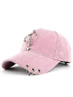 Metallic Letters Circle Ring Embellished Corduroy Baseball Hat - Pink