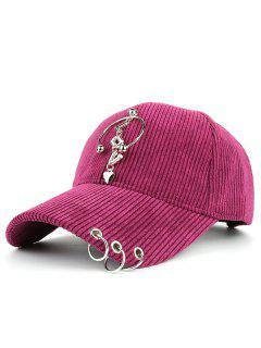 Metallic Letters Circle Ring Embellished Corduroy Baseball Hat - Tutti Frutti
