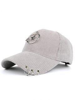 Removeable Metallic Star Circle Rings Embellished Baseball Hat - Gray