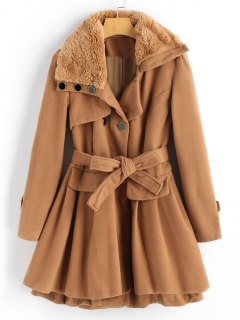 Wool Blend Double-breasted Skirted Coat - Camel L
