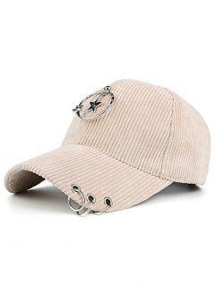 Removeable Metallic Star Circle Rings Embellished Baseball Hat - Beige