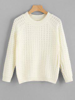 Strukturierter Pullover Mit Rundhalsausschnitt - Beige (weis)