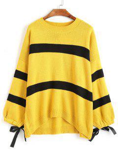 Striped Tie Cuffs Dip Hem Sweater - Yellow