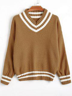 V Neck Striped Hem Sweater - Light Brown