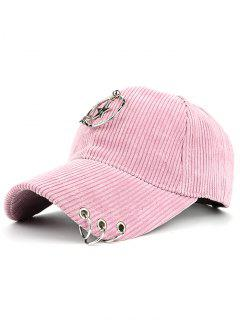 Removeable Metallic Star Circle Rings Embellished Baseball Hat - Pink