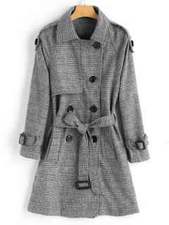 Double-breasted Checked Wool Blend Coat - Checked L