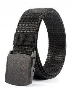 Belt Metal Buckle Embellished Canvas Belt - Black