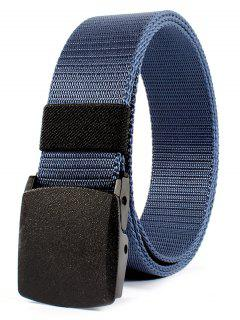 Belt Metal Buckle Embellished Canvas Belt - Blue