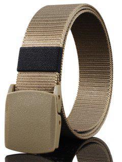 Belt Metal Buckle Embellished Canvas Belt - Khaki