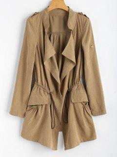 Drawstring Snap Button Trench Coat - Khaki M