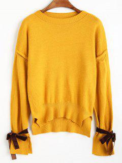 Drop Shoulder Tie Cuffs Sweater - Yolk Yellow