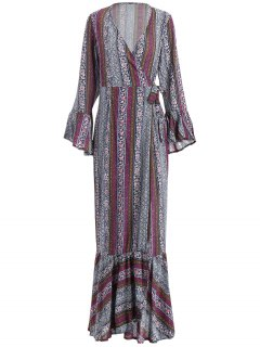 Floor Length Tribe Print Wrap Dress