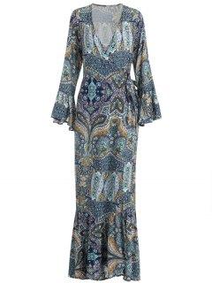 Retro Print Floor Length Wrap Dress