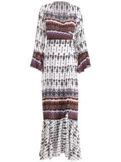 Floor Length Printed Wrap Dress - White