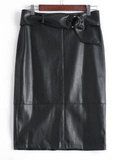 Back Slit Belted Faux Leather Skirt - Black S