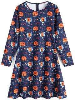 Robe Évasée Imprimé Citrouille Halloween - Bleu Foncé S