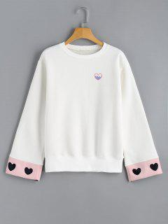 Flocking Heart Embroidered Sweatshirt - White