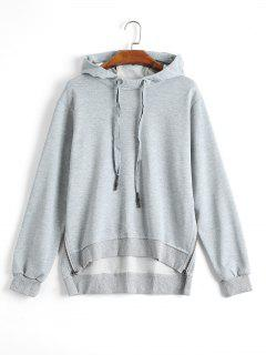 Side Zipper High Low Hoodie - Gray M
