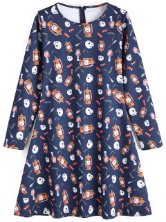 Vestido De Halloween De Manga Larga Con Estampado De Calavera - Marina De Guerra M