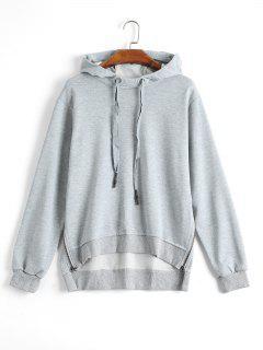 Side Zipper High Low Hoodie - Gray S