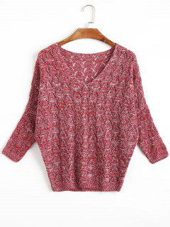 Open Knit Batwing Sleeve V Neck Sweater - Dark Red