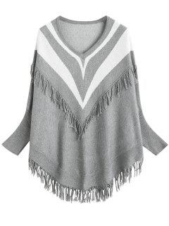 Batwing Sleeve Striped Fringed Sweater - Gray