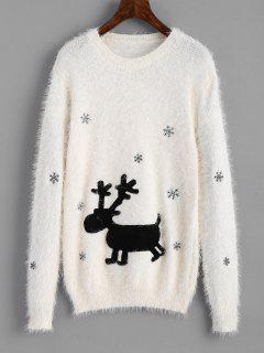 Elk Patches Textured Christmas Sweater - White