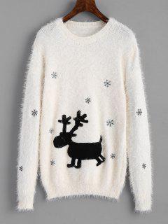 Pull Texturé à Renne De Noël Et Flocon De Neige Patché - Blanc
